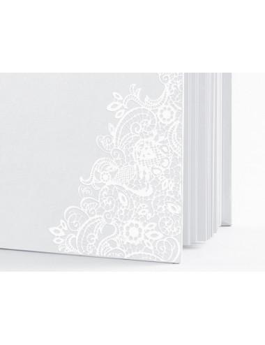 Księga gości koronkowa biała