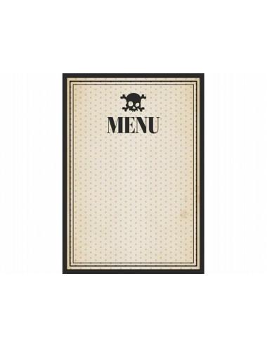Karty menu czaszka do wypisania
