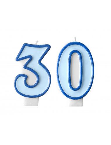 Świeczki na tort 30 urodziny niebieskie