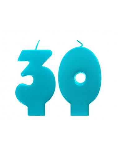 Świeczki urodzinowe 30 turkusowe
