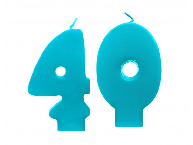 Świeczki urodzinowe 40 turkusowe