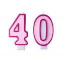 Świeczki na tort 40 urodziny różowe