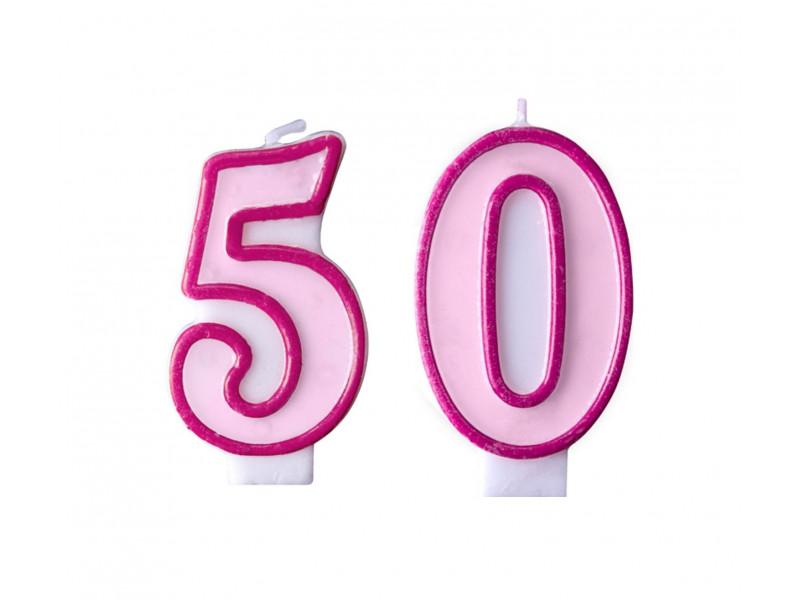 Świeczki na tort 50 urodziny różowe
