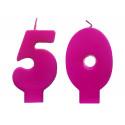 Świeczki urodzinowe 50 różowe