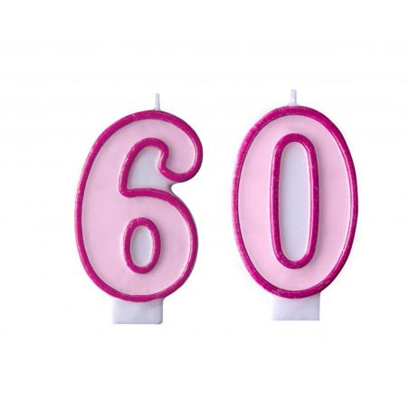 Świeczki na tort 60 urodziny różowe