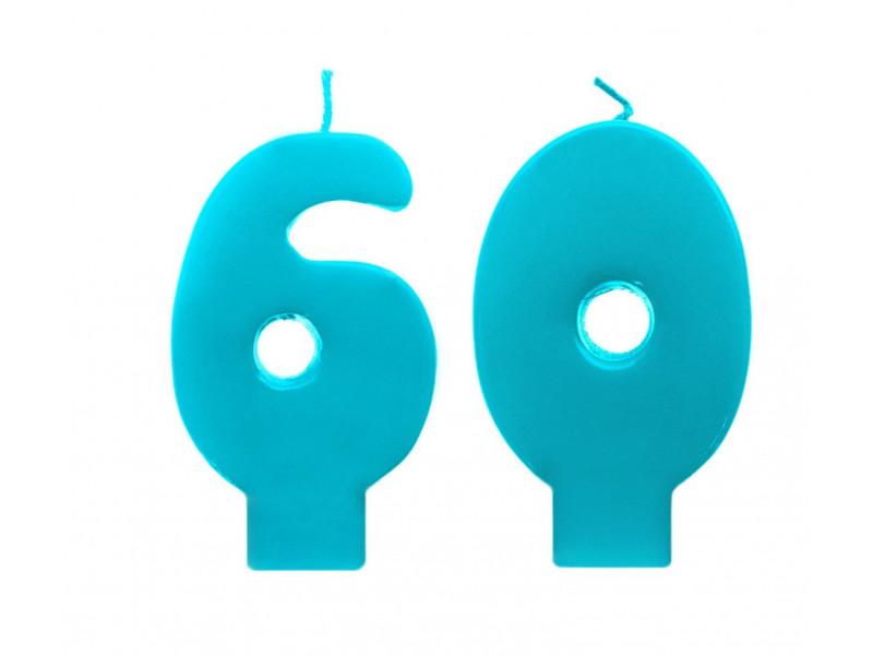 Świeczki urodzinowe 60 turkusowe