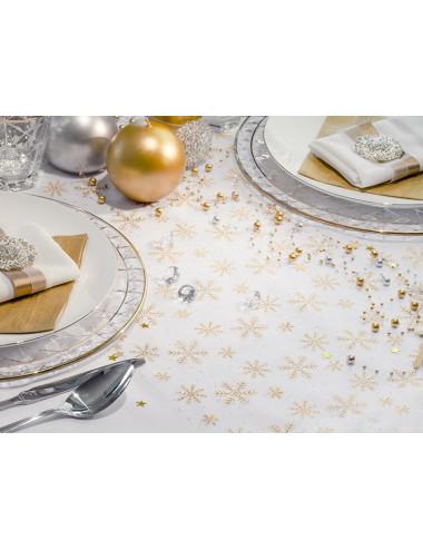 Organza biała ze złotymi śnieżynkami