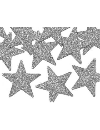 Gwiazdki brokatowe srebrne 5 cm