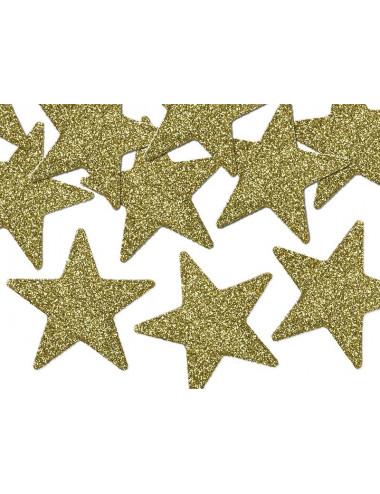 Gwiazdki brokatowe złote 5 cm