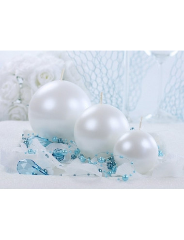 Świece kule metalizowane perłowe