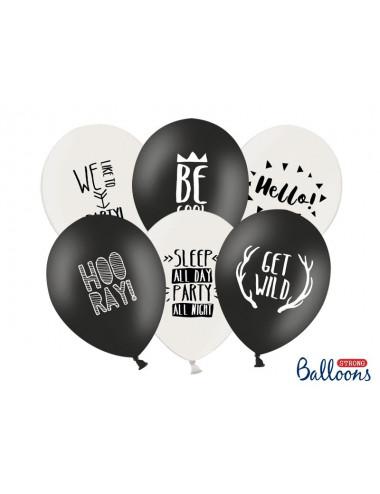 Balony Party BE WILD czarno białe z nadrukiem