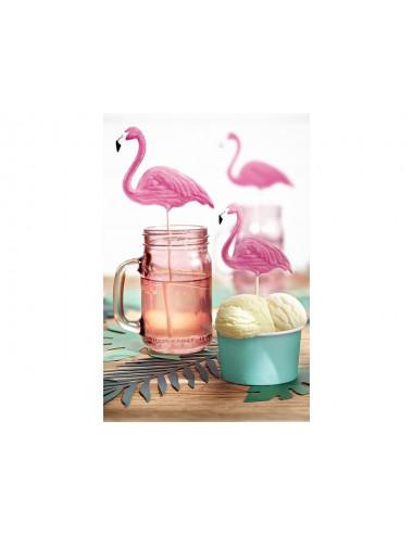 Flamingi na piku dekoracja napoi i deserów