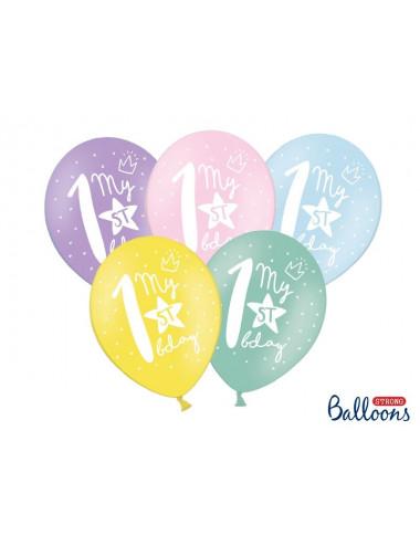 Balony pastelowe z cyfrą 1