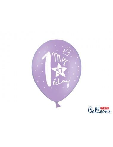 Balony pastelowe na roczek z nadrukiem - cyfrą 1