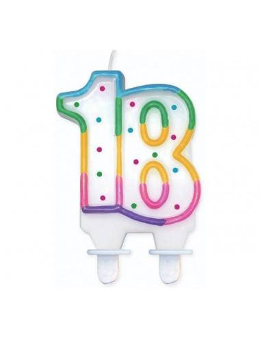 """Świeczka cyferka z kropeczkami """"18"""""""
