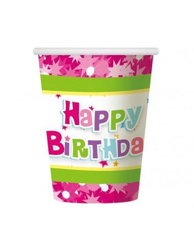 """Kubeczki papierowe """"Happy Birthday różowe"""""""