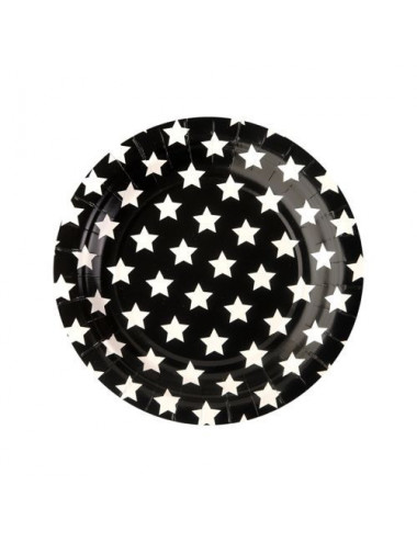 Talerzyki papierowe czarne w białe gwiazdki