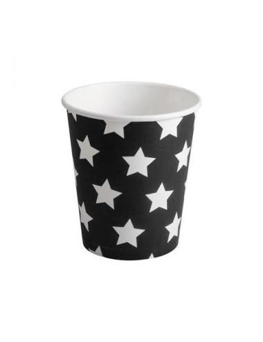 Kubeczki papierowe czarne w białe gwiazdki