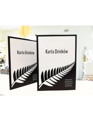 Karta Drinków czarno - biała flaga