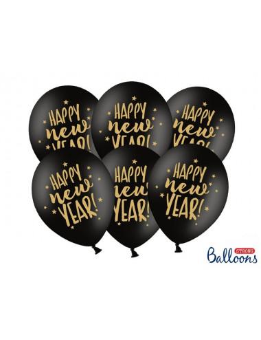 Balony ze złotym nadrukiem Happy New Year