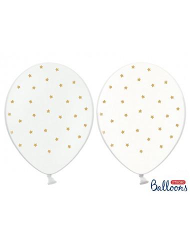 Balony Gwiazdki przeźroczyste i białe w złote gwiazdki