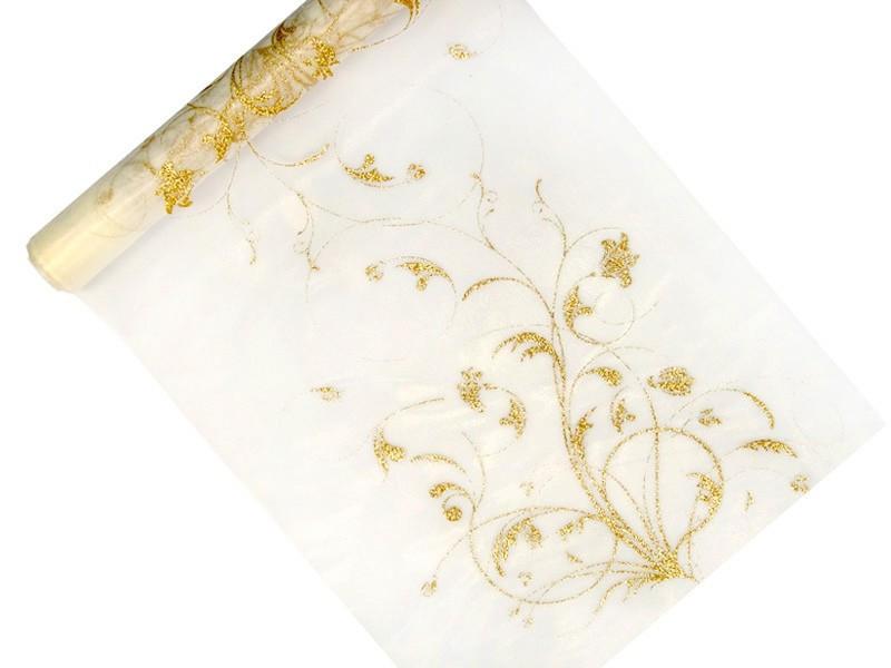 Organza ze złotym kwiatowym nadrukiem