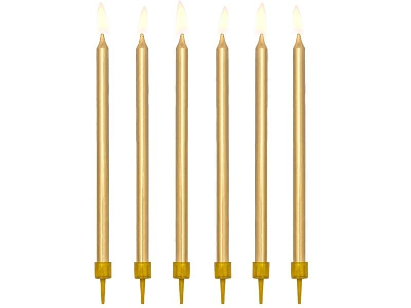 Świeczki urodzinowe gładkie złote